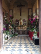 Chapel decorated for the flower show